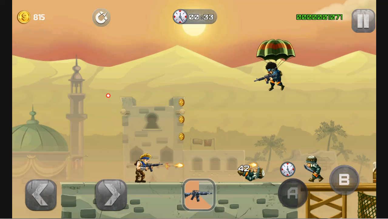 metal-soldiers パラシュートの上から狙いを定めて撃ってくる敵もいる