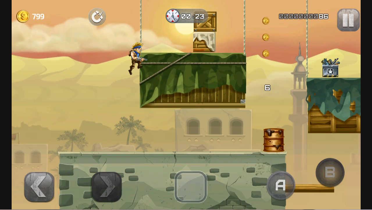 metal-soldiers 壁でジャンプボタンを連打すると壁を登る事が出来る
