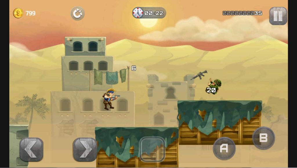metal-soldiers 敵が画面に登場してすぐに倒せるとかなり安全