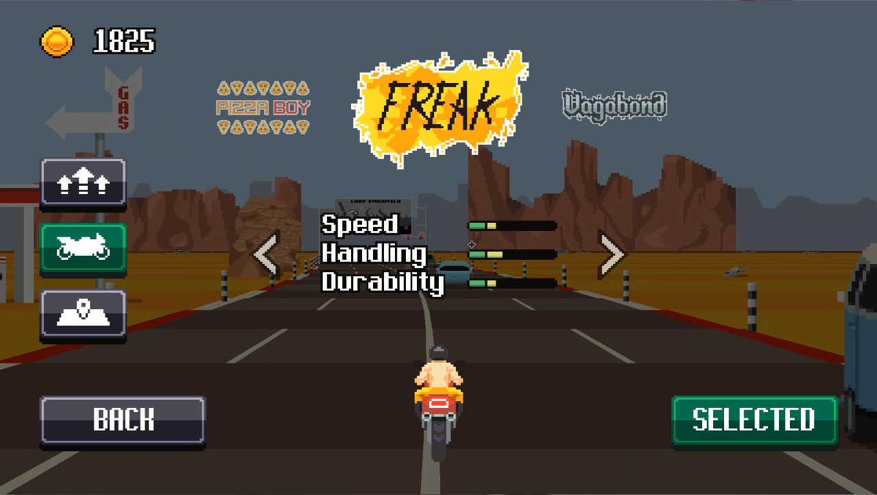 Retro Highway バイク、コースは何種類かずつあります