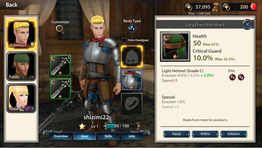 ChronoClash 装備画面
